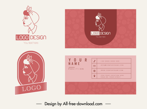 business card templates lady logotype classic handdrawn flat