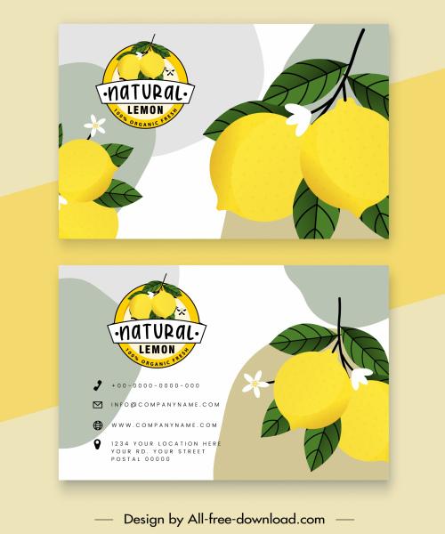 business card templates lemon theme bright colored decor
