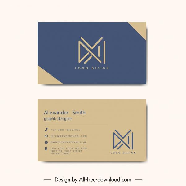 business card templates lines logotypes plain decor
