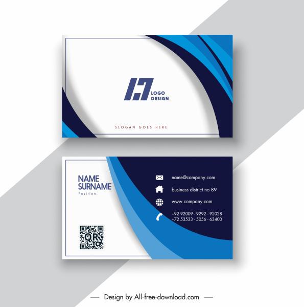 business card templates modern contrast dynamic swirled decor