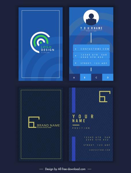 business card templates modern elegant dark blue design