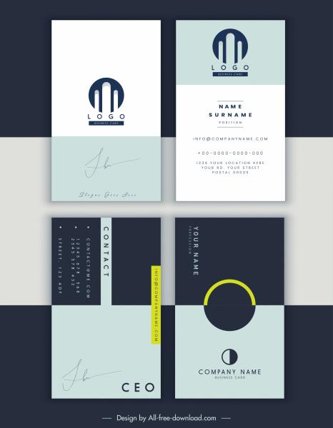 business card templates plain design signature decor