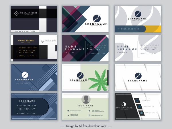 business cards templates collection modern elegant decor