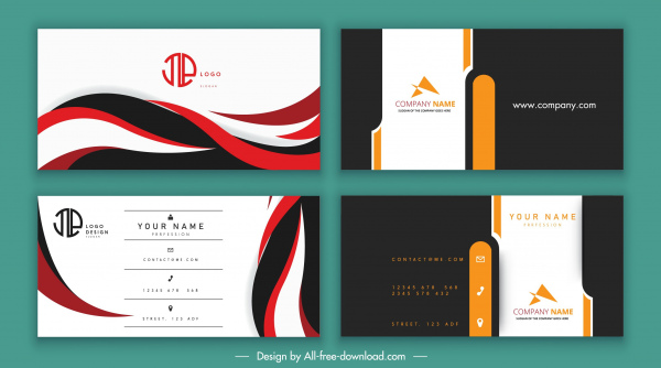 business cards templates swirled plain contrast colored design