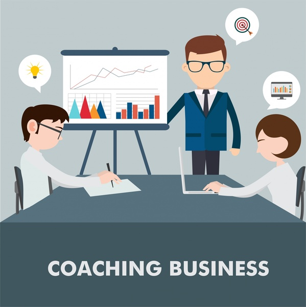 business coaching concept design with teamworking space