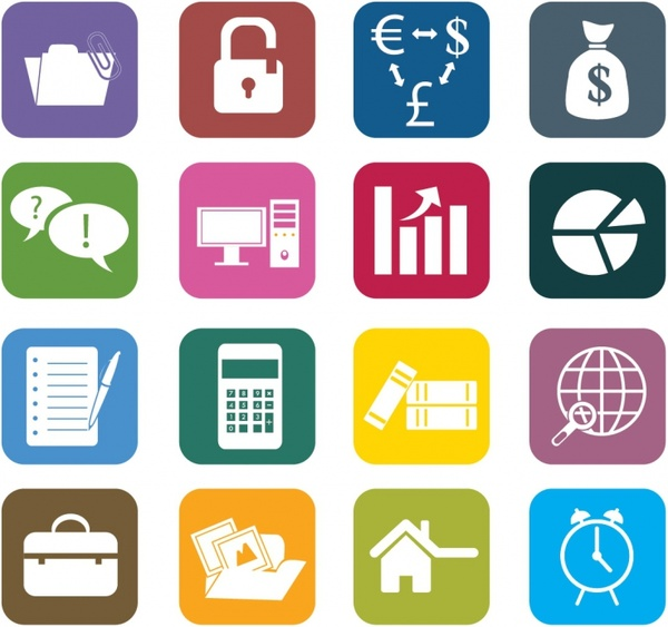 Business Color Icons Free Vector 1 52mb