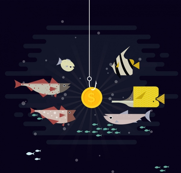 business concept background fish coin icons cartoon design