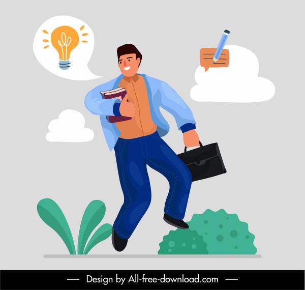 business creative concept background man lightbulb sketch