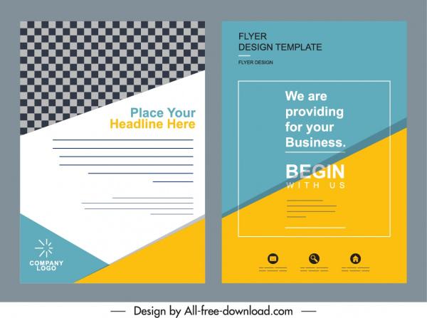 business flyer cover templates colorful elegant flat decor