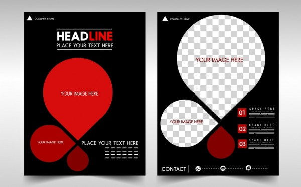 business flyer rounded shapes red checkered decor