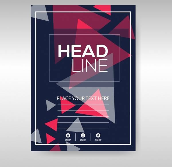 business flyer template dark triangles decoration free vector in