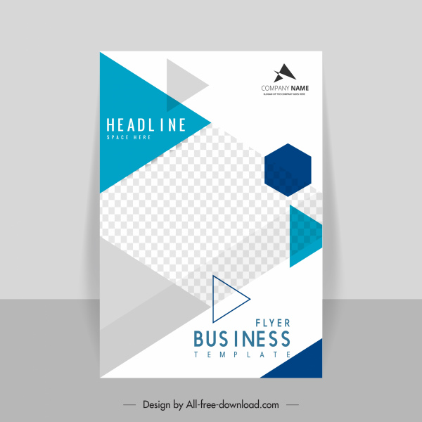 business flyer template elegant bright modern checkered geometry