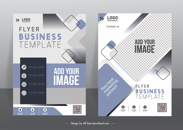 business flyer template elegant modern geometric checkered decor