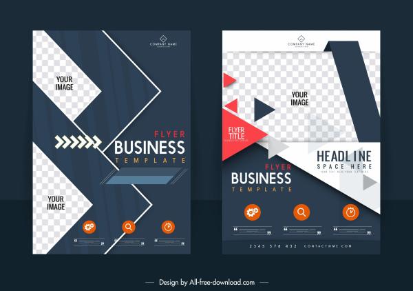 business flyer template modern elegant contrast checkered decor