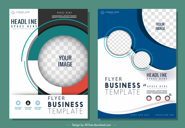 business flyer templates colorful modern design checkered circles