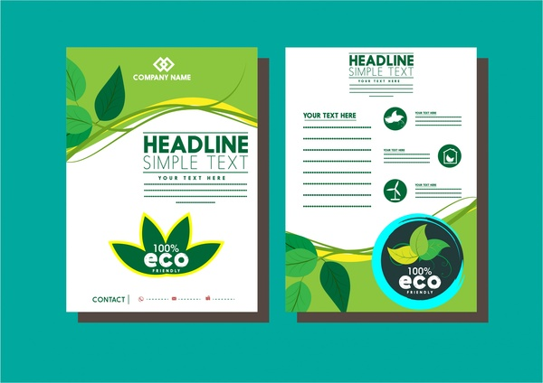 business flyer templates eco green leaves style