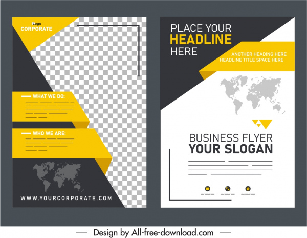 business flyer templates elegant modern 3d decor