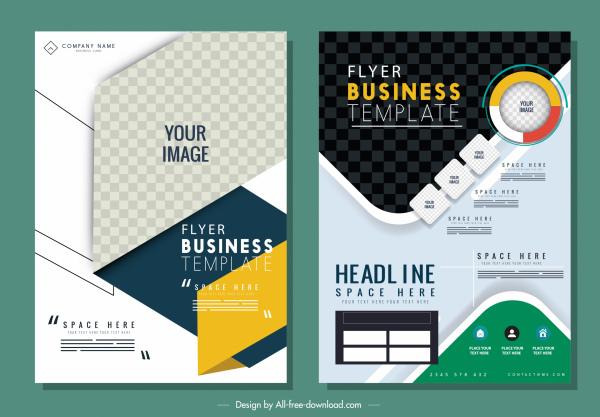 business flyer templates modern colorful design checkered decor