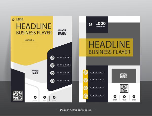 business flyer templates modern contrast decor