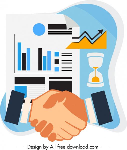 business icons handshake charts elements sandglass sketch