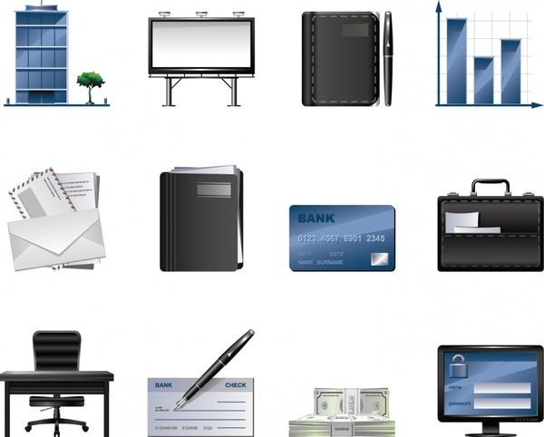 business icons modern office finance symbols sketch