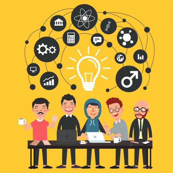 business idea concept background human lightbulb icons
