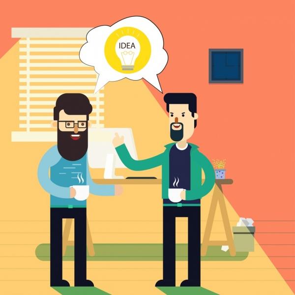 business idea concept drawing men lightbulb colored cartoon
