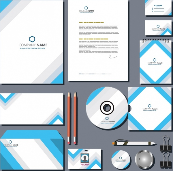 business identity sets abstract blue white decoration