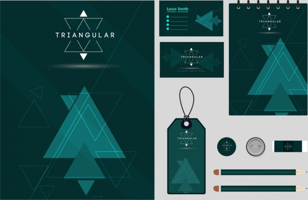business identity sets dark green triangle decoration