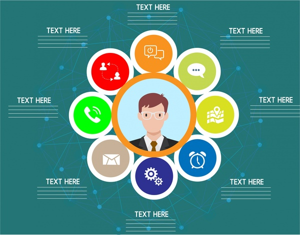 business infographic design colored circles elements style