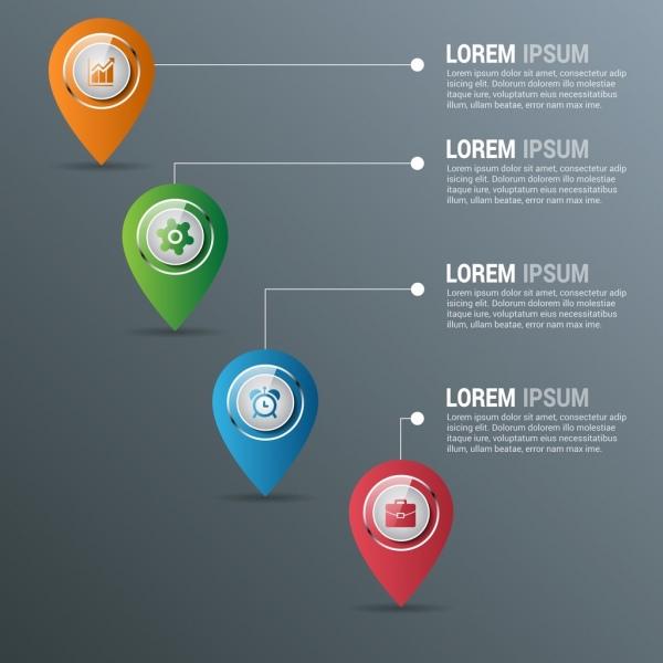 business infographic design elements shiny drops shape decoration
