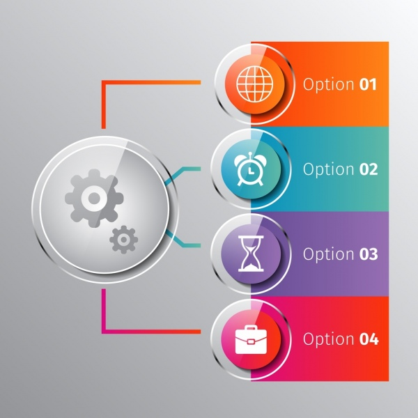 business infographic design shiny colored icons elements decoration