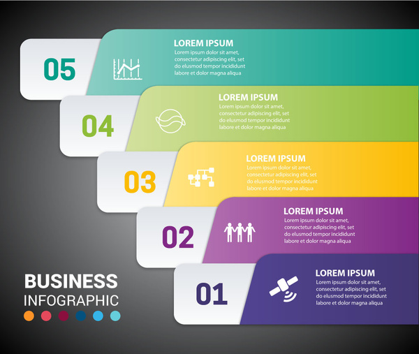 business infographic design with oblique horizontal tabs