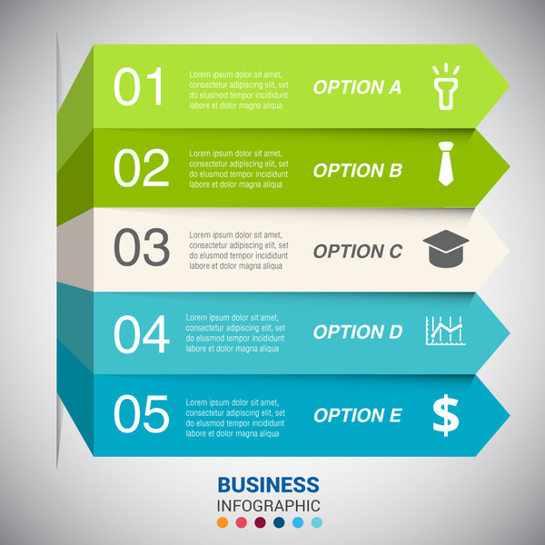 business infographic on 3d horizontal tabs