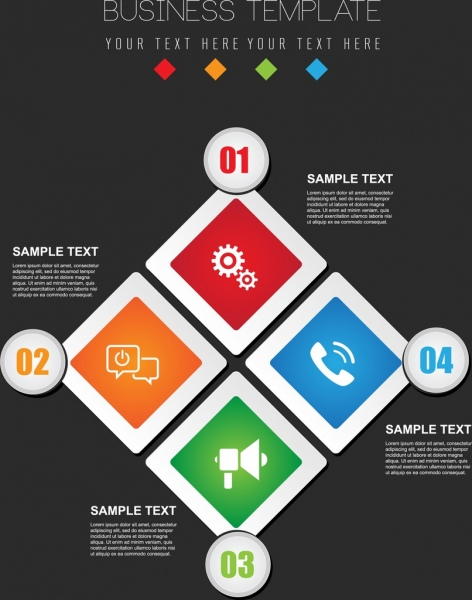 business infographic template colorful flat squares rounds decor