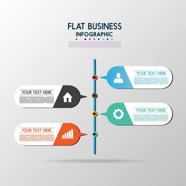 business infographic template flat design speech baubles icons