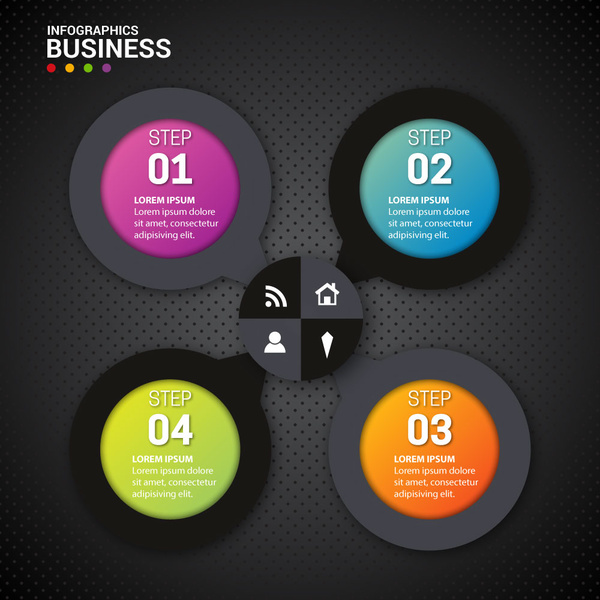 business infographics illustration with circles on dark background
