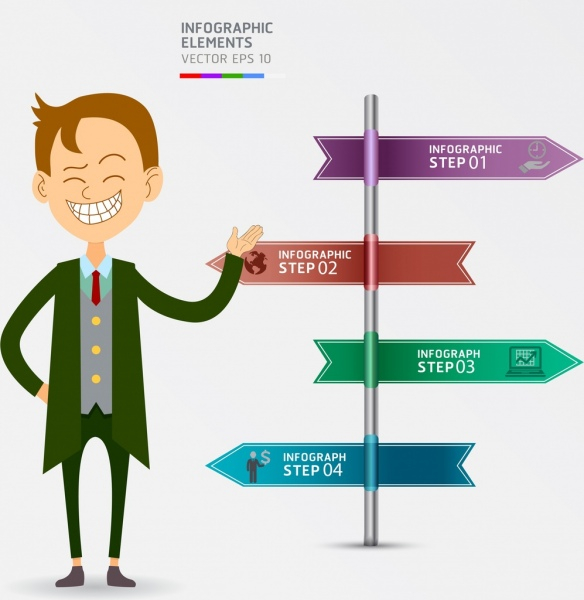 business inforgraphic template arrow signpost man icons
