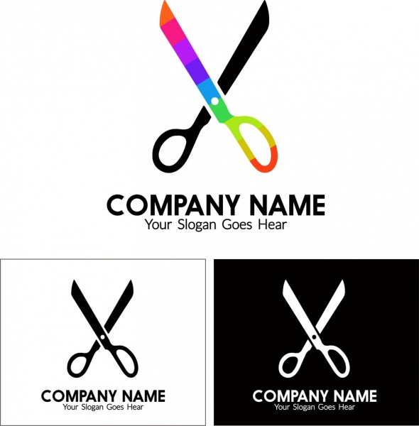 Business Logo Design Craft Style Scissors Decoration Free Vector In