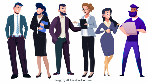 business people icons elegant cartoon characters sketch