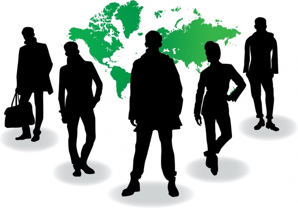 business background silhouette people icons