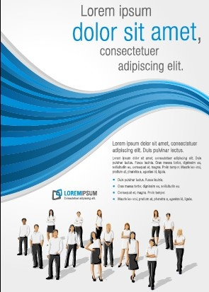business people with brochure cover vector