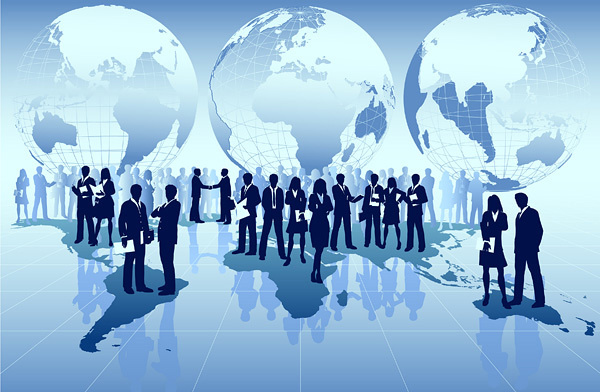 business people with world design vector