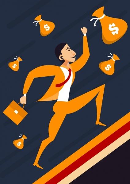 business success concept background businessman money icons