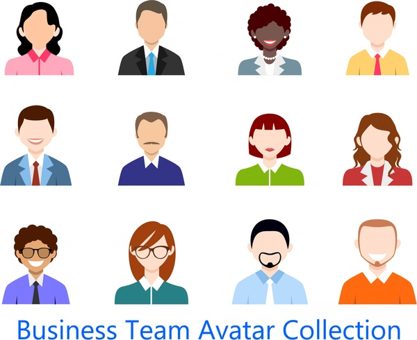 business team avatar collection design in colored flat free vector