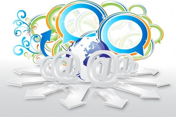 digital technology background template modern 3d symbols