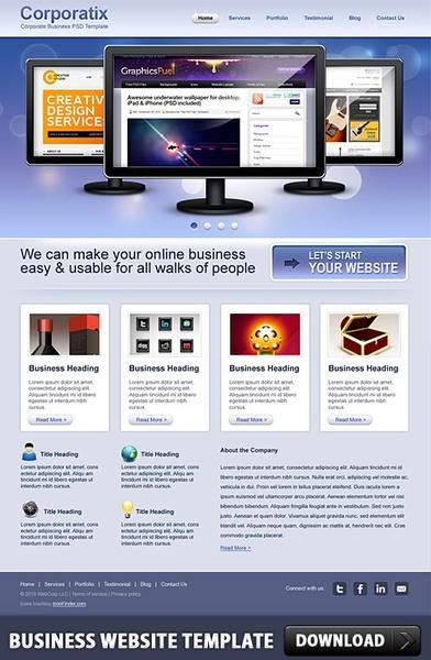 Business Website Free PSD Template