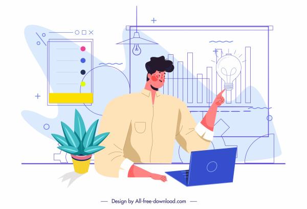 business work painting presentation man chart sketch