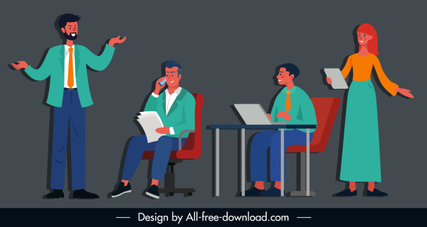 bussiness work icons flat cartoon characters sketch