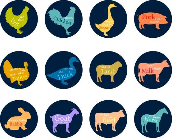 butchery labels isolated with various animals silhouettes tyles